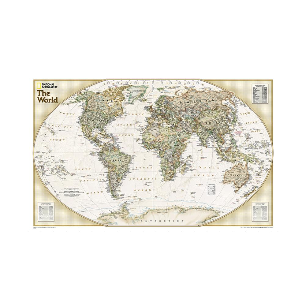 150x100cm Non-woven Map The World Physical Map Without National Flag For Education And Culture
