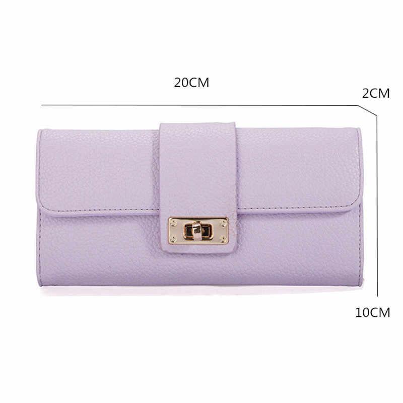جديد وصول 1 قطعة جلد النساء محافظ جلدية للسيدات مخلب حاملي بطاقة الهاتف محفظة سيدة حقيبة يد طويلة