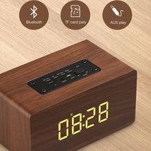 Wooden Bluetooth Speaker Alarm Clock Wireless Portable HiFi Shock Bass Altavoz TF Soundbar MP3 Speaker FM Radio Microphone slang 3w bluetooth v3 0 multifunctional speaker w fm microphone tf deep pink