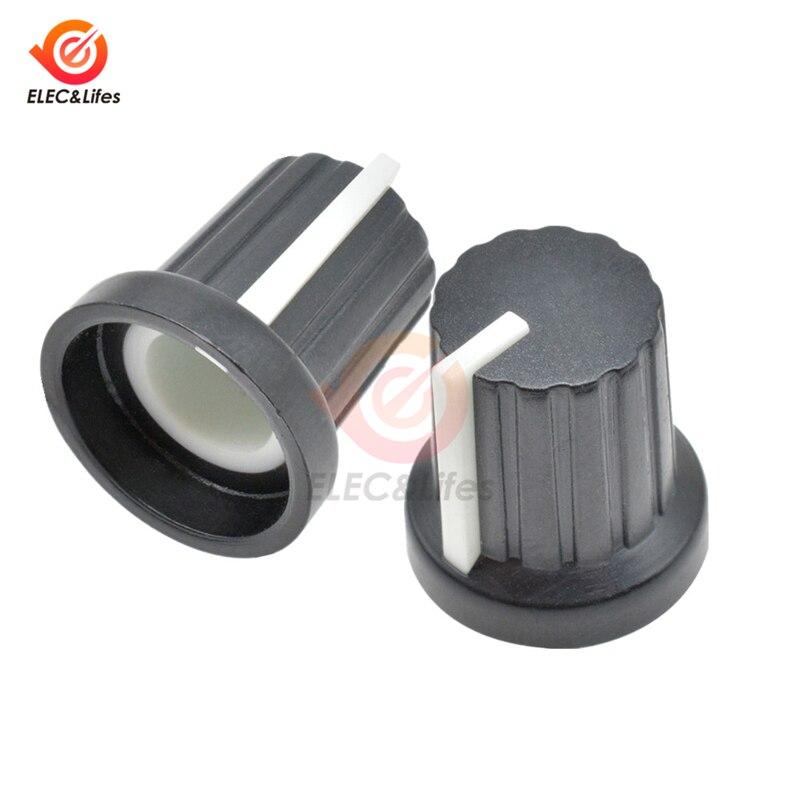 10Pcs/lot WH148 Potentiometer Knob Cap 6mm Shaft Hole Threaded Rotary Potentiometer Switch Caps For WH148 1k 5k 10k 20k 50k 100k