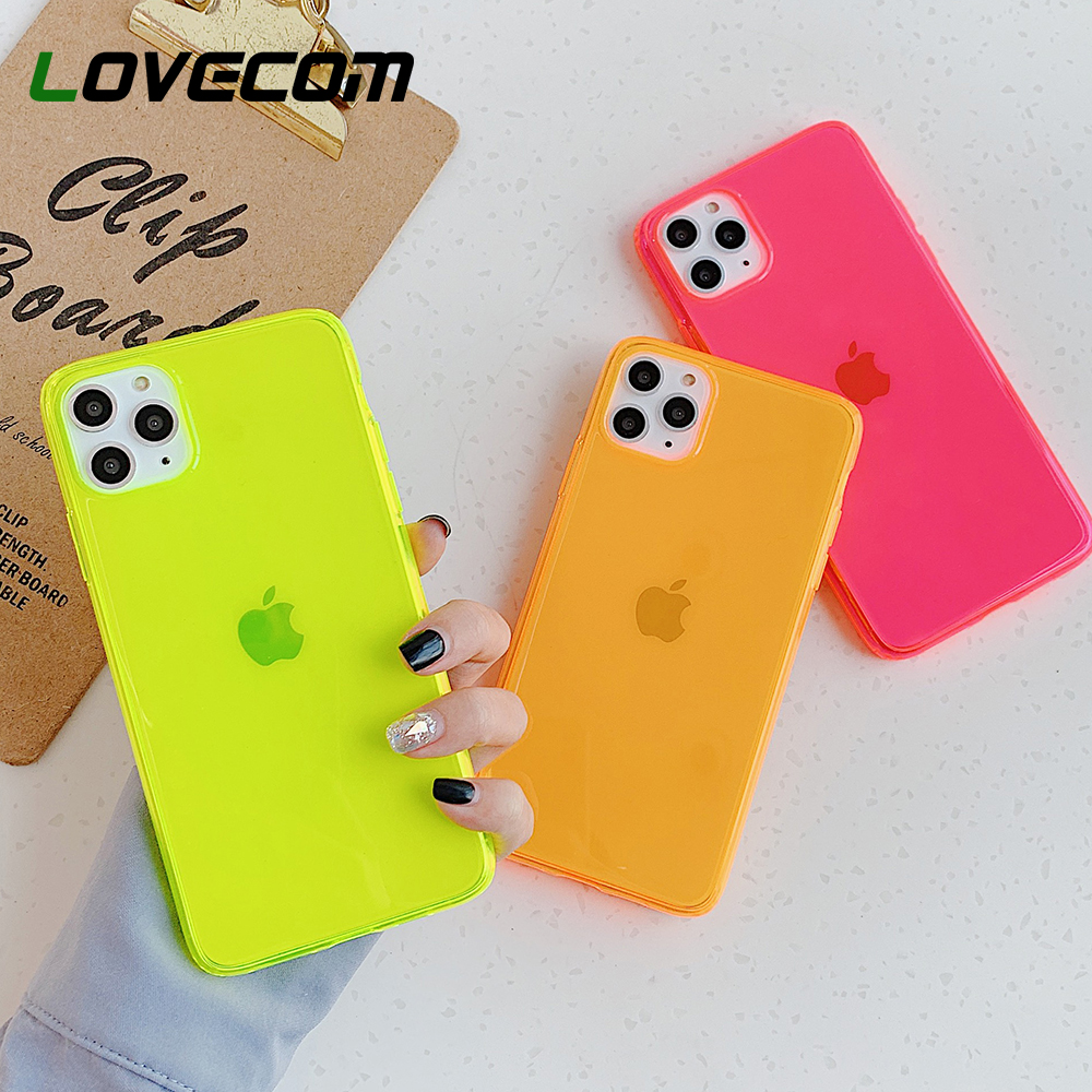 LOVECOM Neon Fluorescent Solid Color Phone Case For iPhone 11 Pro Max XR X XS Max 7 8 Plus Case Soft IMD Clear Phone Back Cover(China)
