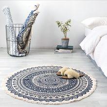 Morocco Round Rug Boho Style Tassel Cotton Fabric Carpet Mat Door Blanket Decor M6CE