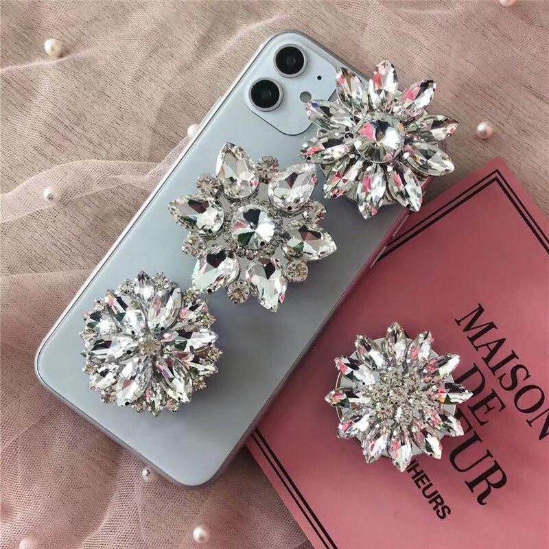 New Universal Luxury Pearl Water Brick Phone Ring  Crystal Airbag Bracket Mobile Phone Bracket For IPhone Xiaomi Huawei