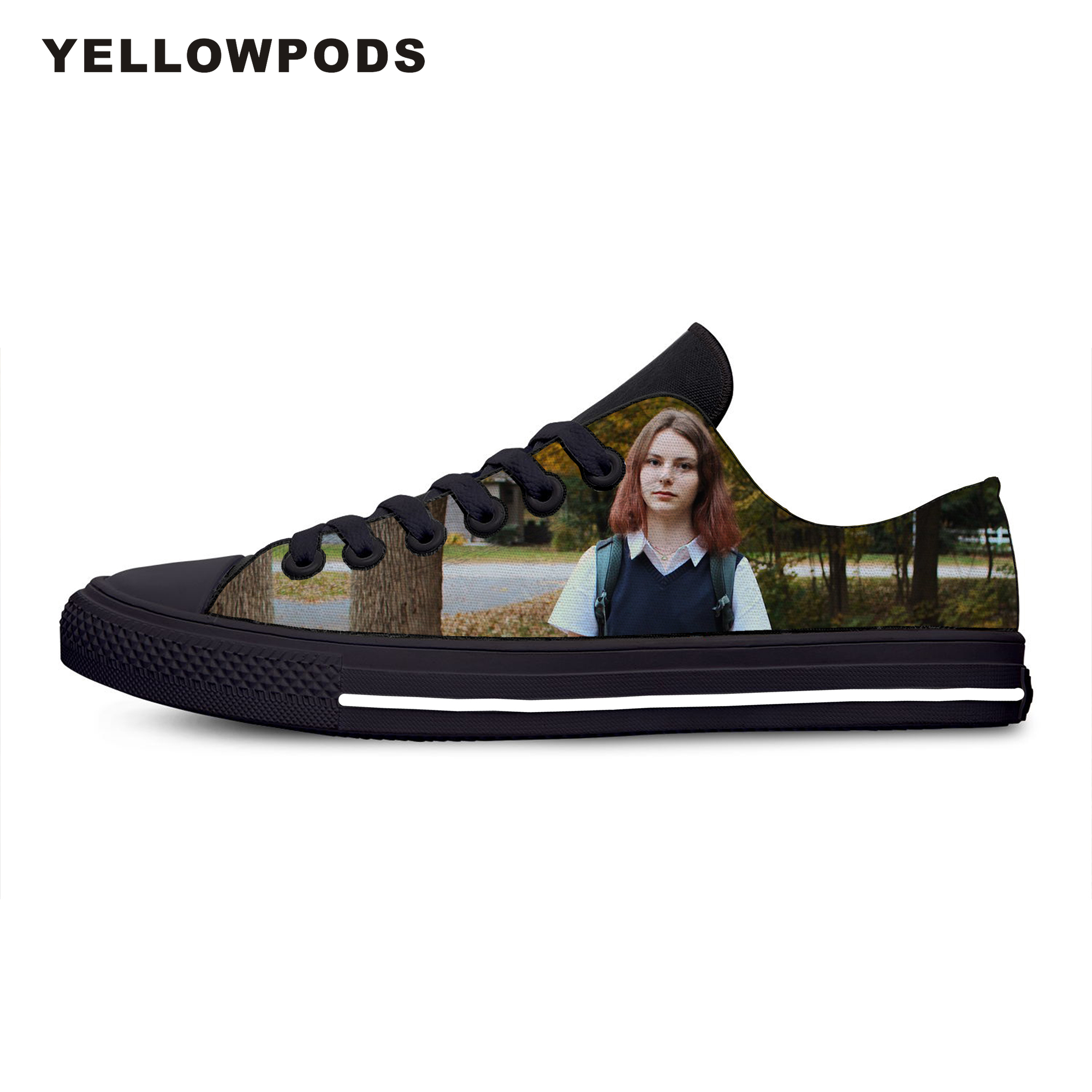 Flats Classic Canvas Shoes Hot Vogue Handiness Youth Comedy Movie Lady Bird Women Woman Black Flats 3D Print Casual Fashion Shoe image