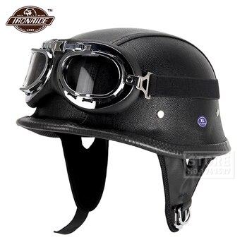New Leather Motorcycle Helmet German Motorcycle Open Face Half Helmet Chopper Biker Pilot DOT BLACK