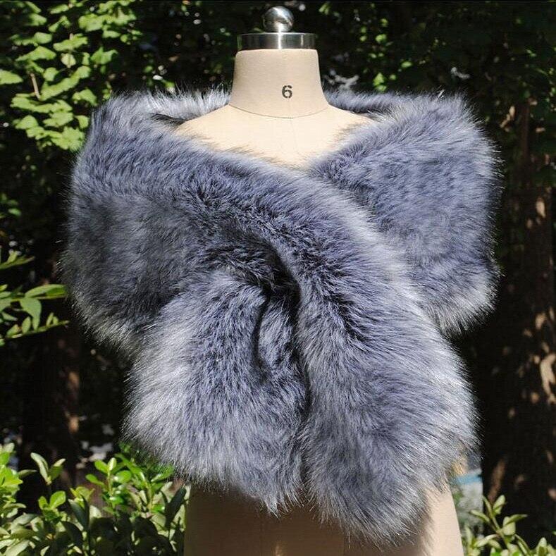 Élégant femmes châle nouveau type renard-comme fourrure châle fourrure-comme cou écharpe mariée en porte-à-faux robe de soirée cape cadeau spécial