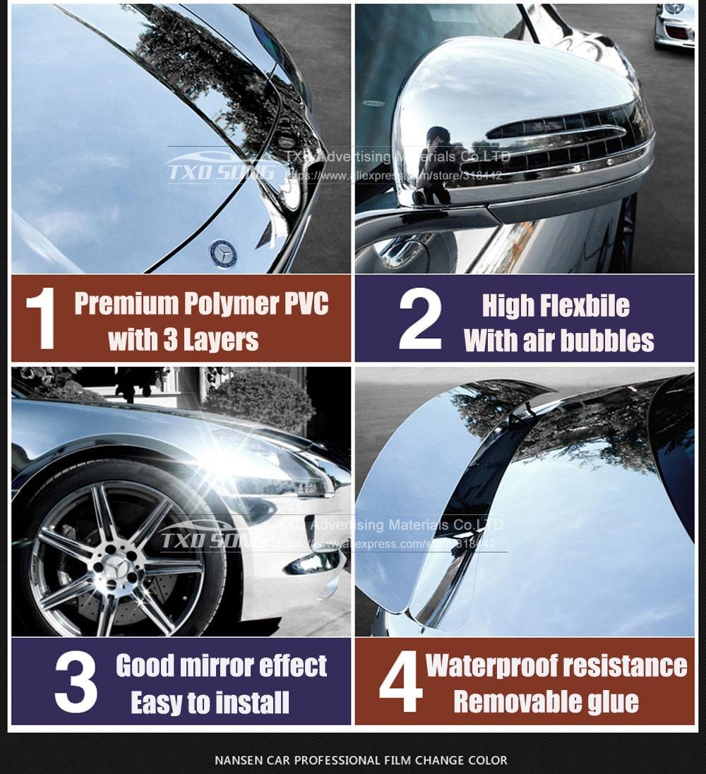 Высокая растягивающаяся Водонепроницаемая УФ-защита темно-синяя Хромовая зеркальная виниловая пленка, рулонная пленка для автомобиля, наклейка, лист