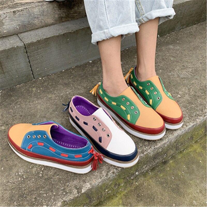 Women Flats Sneaker Lazy-Shoes Platform Comfortable Big-Size Fashion 35-43 PU Casual