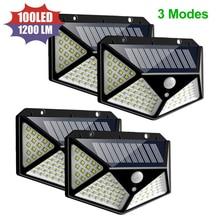 Waterproof Solar Light 100 LED 3 Modes Outdoor Solar Lamp PIR Motion Sensor Wall Light Solar Powered Sunlight for Garden Decor