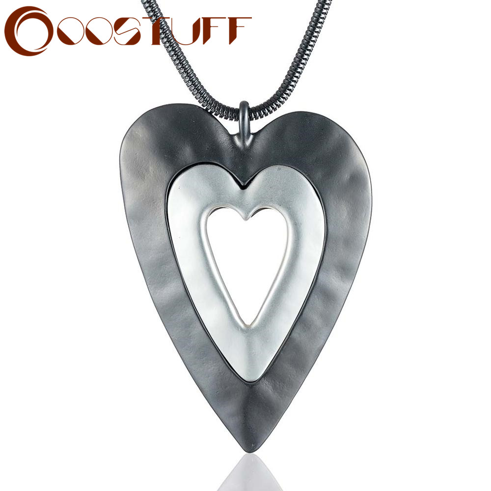 necklaces & pendants Love Heart Pendant Long Necklace for Women Jewelry Trendy Chunky Big Large Pendants Jewellery Chokers Chain