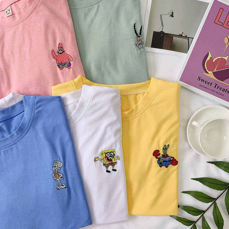 Frauen Kleidung kawaii cartoon stickerei lose t-shirt oansatz kurzarm Tops lose ulzzang sommer T Koreanischen T-Shirts