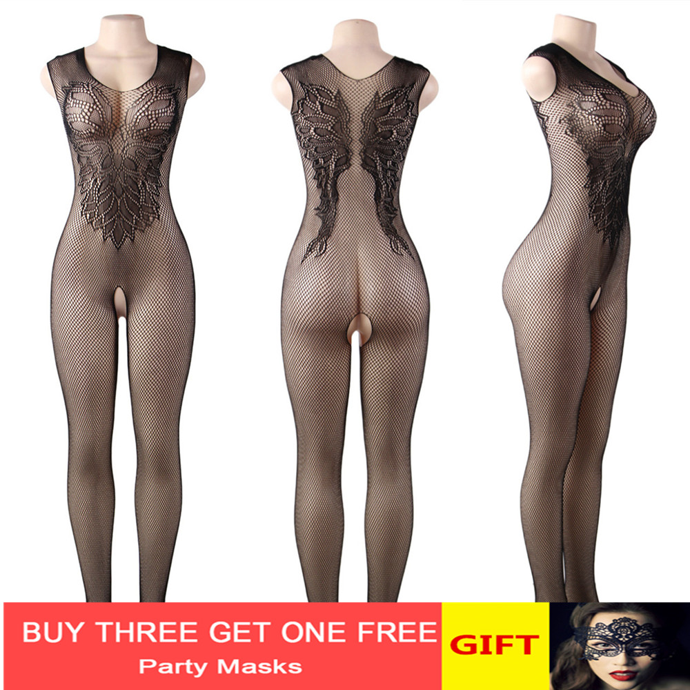 Women Sexy Open Crotch Bodystocking Erotic Lingerie V Neck Body Suit Stocking Porno Underwear Crotchless Babydolls Costumes 575