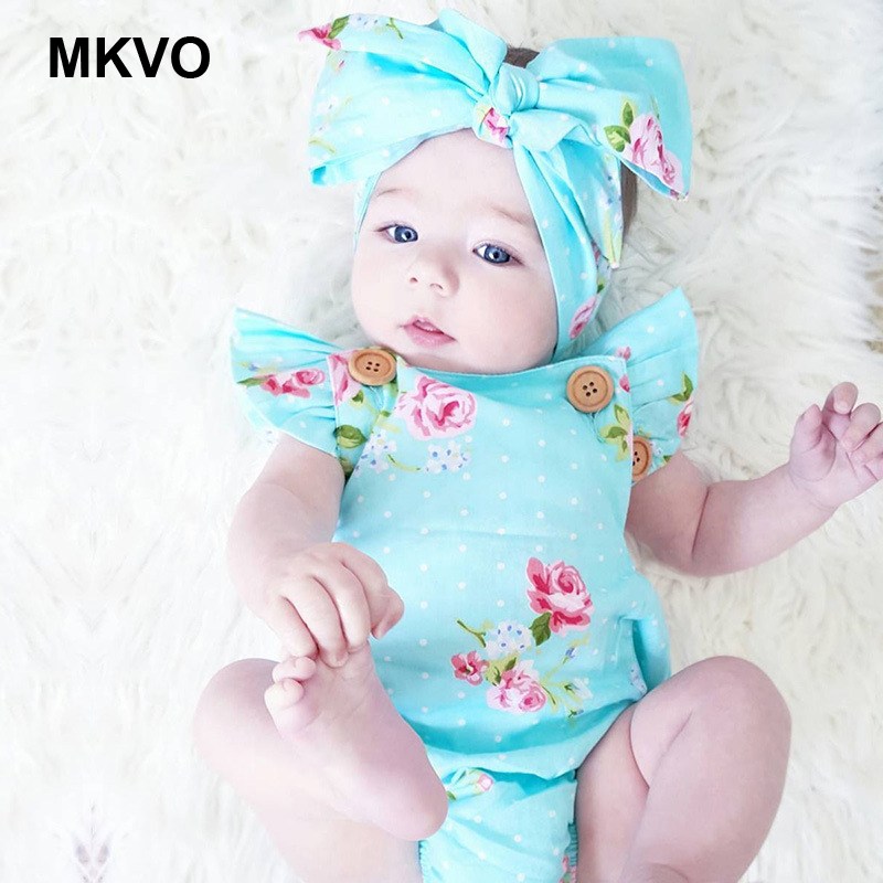 Children's Wear Spring 0-24 Months Old Baby Siamese Suit Summer Blue Flowers Girl Sunsuit Headband Clothes Rompers