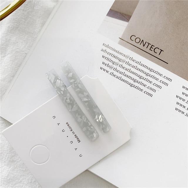 1 Pair Korean Gold Foil Hairpin Acetate Hair Clip Headwear For Women Girls Hair Accessories Barrettes Headband Hair Styling Tool 2