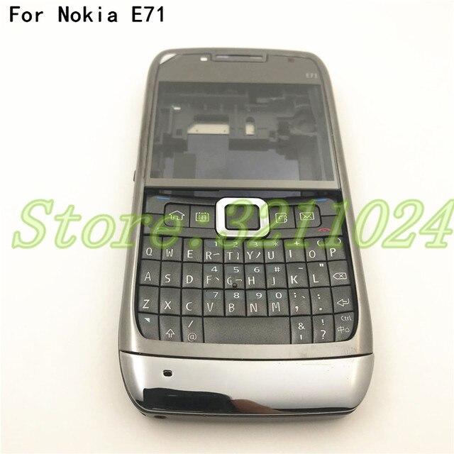 نوعية جيدة الأصلي الكامل كاملة الهاتف المحمول بطارية مبيت غطاء لعلامة نوكيا E71 + لوحة المفاتيح الإنجليزية + شعار