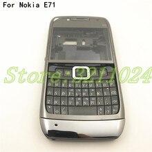좋은 품질 원래 전체 휴대 전화 주택 배터리 커버 노키아 e71 + 영어 키패드 + 로고