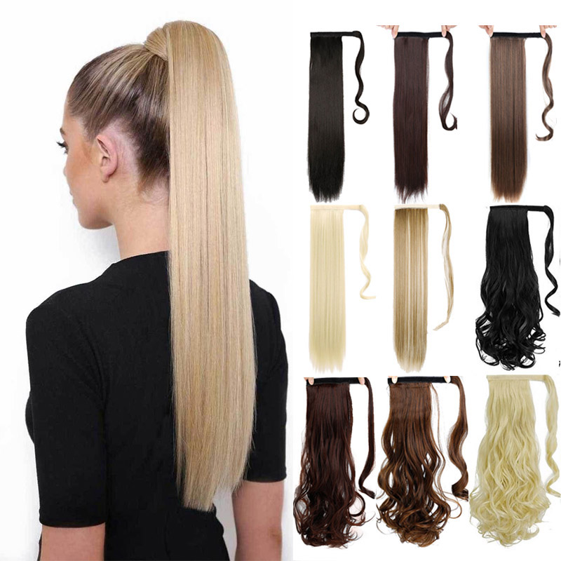 DIFEI Straight  Ponytail Extensions 17 Colors Available High Temperature Fiber For Women Fake Synthetic Hair