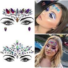 Rhinestone Christmas DIY Eyebrow Face Body Art Adhesive Crystal Glitter Jewels Festival Party Eye Tattoo Stickers Makeup Decor