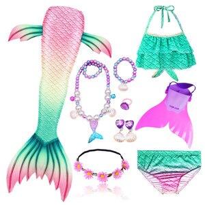 Image 4 - Girls Swimming Mermaid Tail Cosplay Mermaid Costume Swimsuit With or No Monofin Fin Flipper Kids Swimmable Children Swimwear Set