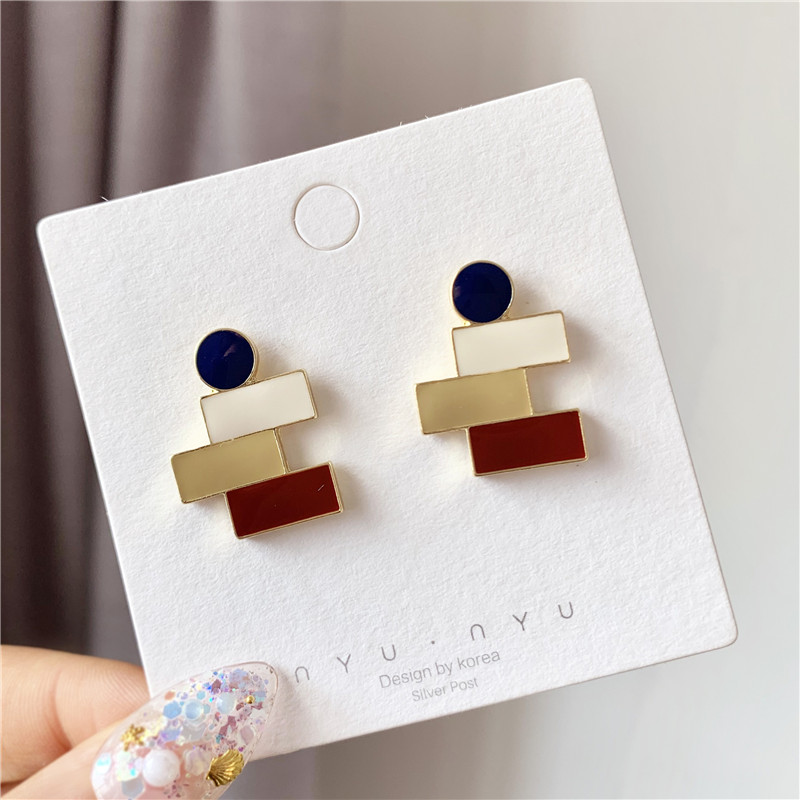 Fashion Impressionist French Glazed Bump Color Restoring Ancient Ways Earrings Korean Girl Temperament Contracted Earrings