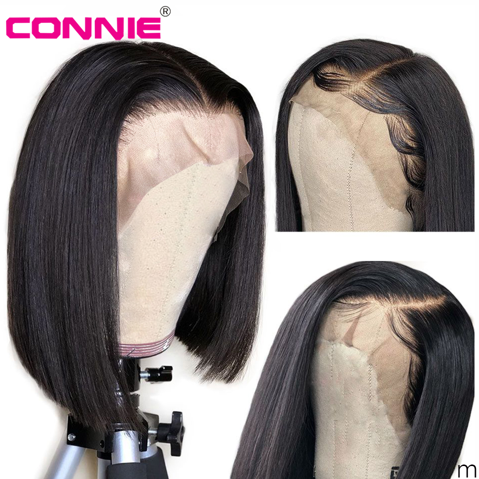 Connie Hair 13X4 Lace Front Human Hair Wigs 150% Malaysia Human Hair Wigs Natural Hairline Remy Short Bob Straight Wig