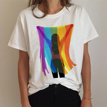 Футболка FIXSYS ЛГБТ, женская футболка с надписью Pride, радужная футболка для лесбиянок, забавная футболка в стиле Харадзюку 90-х, топы с круглым в...