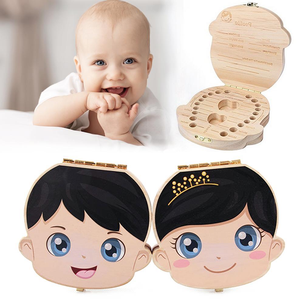 Retro Wooden Baby Tooth Box English Boy Girl Milk Teeth Umbilical Organizer Storage Box Child Infant Souvenir Case Baby Gifts
