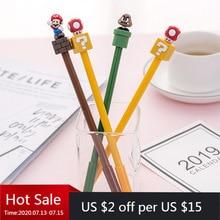 24 pièces Super mignon Super Mary Gel stylo dessin animé créatif papeterie champignon stylo noir Kawaii fournitures scolaires stylos pour lécriture