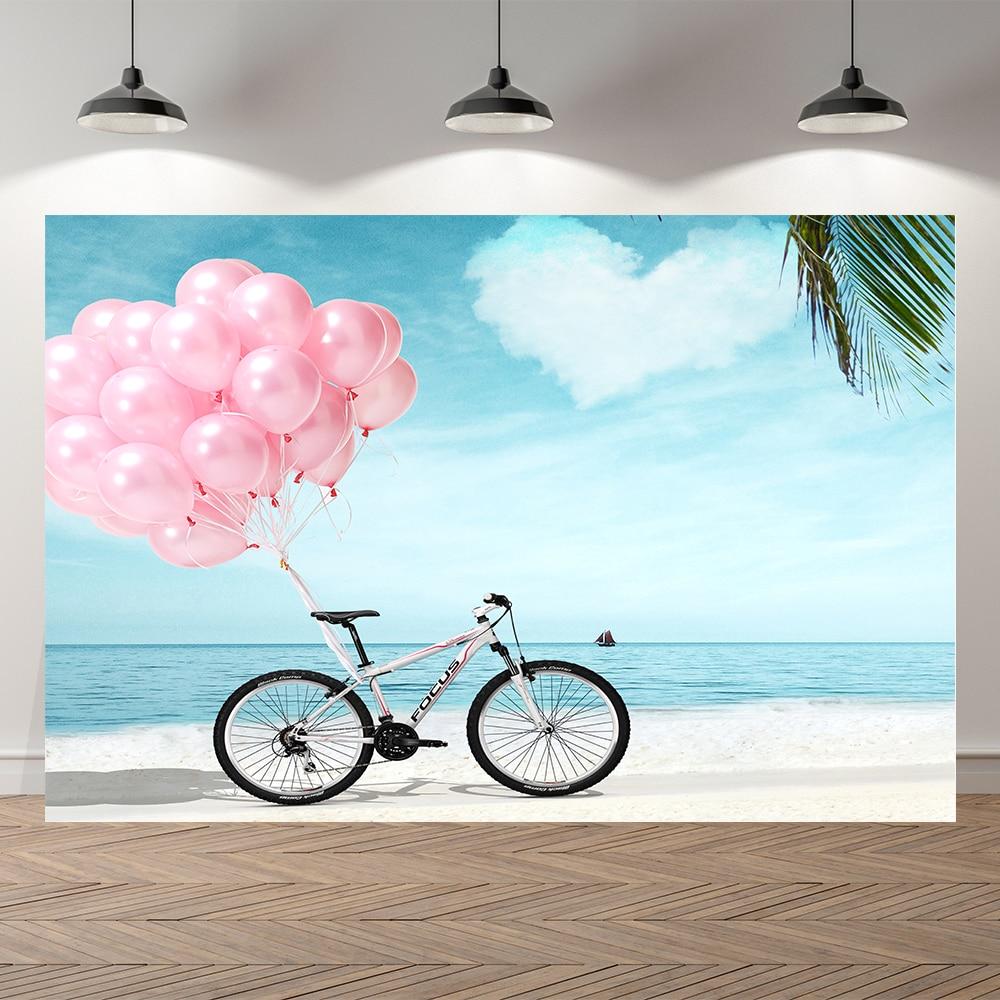 Seekpro летние каникулы морской пляж фото воздушного шара велосипеда праздничный фон для фотосъемки с изображением в стиле вечеринки в честь Д...