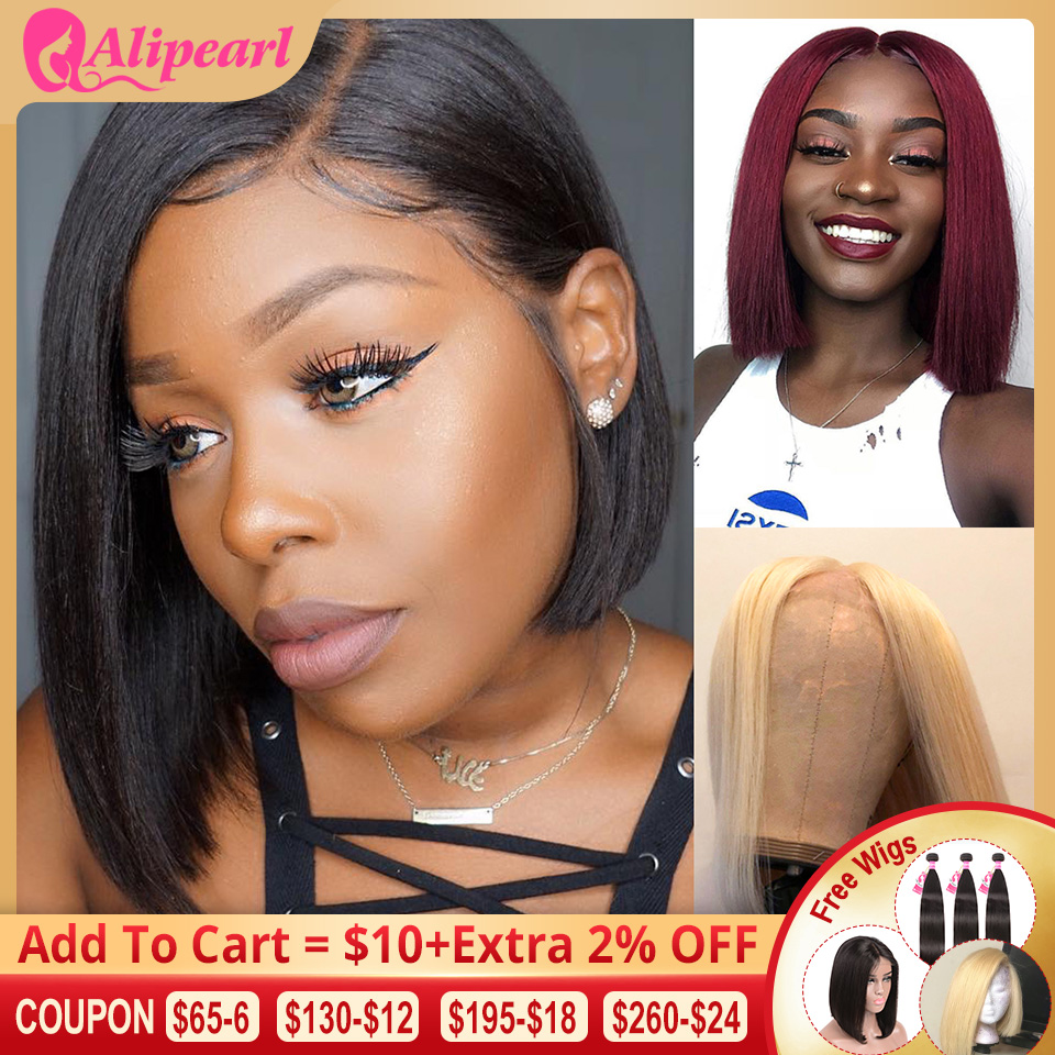 613 Short Bob Lace Front Human Hair Wigs Brazilian Straight Blonde Bob Lace Front Wigs Pre Plucked For Black Women AliPearl Hair image