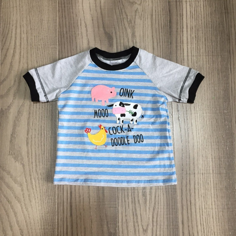 H913c0fac818f4d5585ee7daf146b861aD baby boys summer clothes farm T-shirts baby kids stripe blue pig milk cow chook print shirt