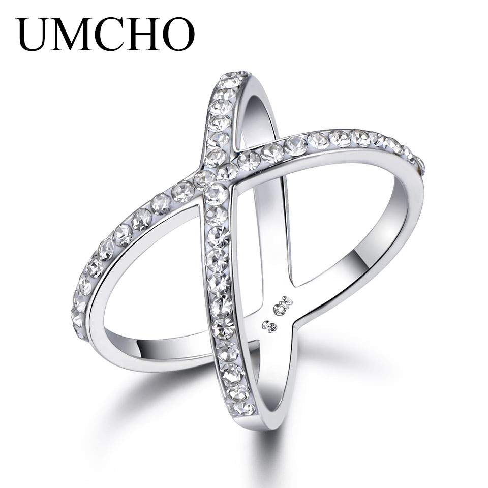 UMCHO Cross Double Ring Fashion Jewelry For Women Wedding Gift