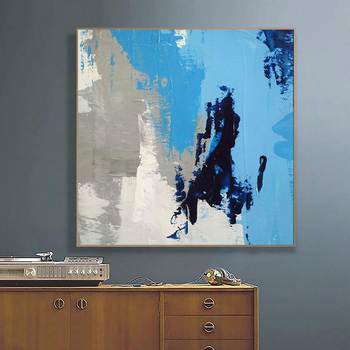 White Blue Painting Large Canvas Art Painting On Canvas White Painting Minimalism Acrylic Paintings Modern Wall Art Home Decor