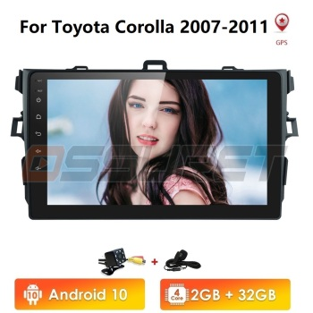 2Din android 10 2G+32G Car Radio Multimedia Player For Toyota Corolla 2007-2011 CAM-IN USB DVR SWC OBD DTV BT Video GPS Nav WIFI image