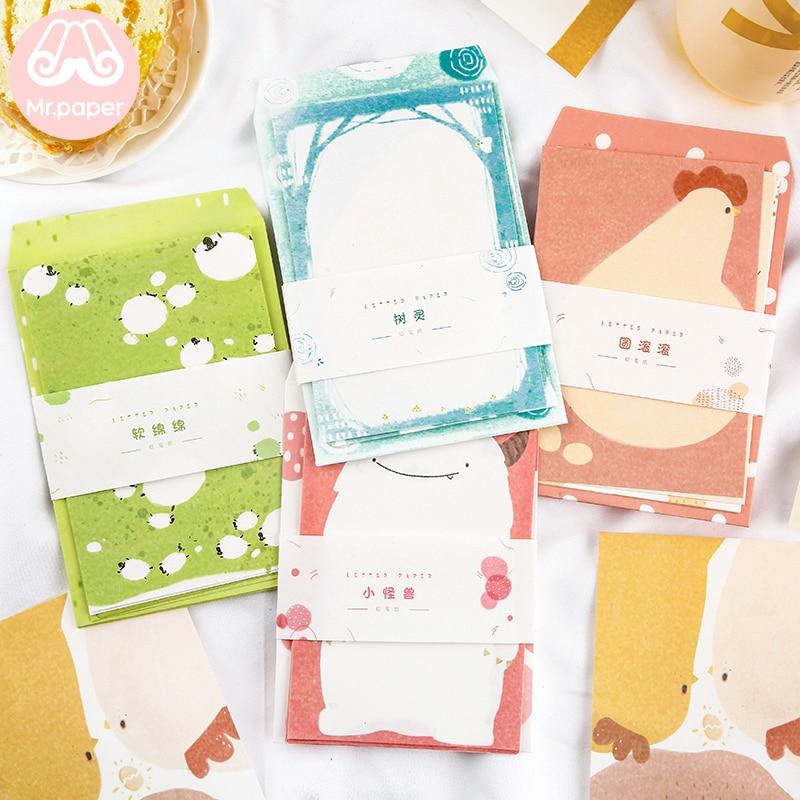 Mr Paper 4pcs/lot Kapok Paper Envelopes With 8pcs Kawaii Cartoon Letter Pads Creative Stationery Ins Colorful Gift Envelopes