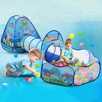 3 in 1 Ocean Children's Tent House Toy Ball Pool Portable Children Tipi Tents with Crawling Tunnel Pool Ball Pit House Kids Tent 3 in 1 kids large pool tube teepee play tent ocean ball pool pit tent house for children foldable game playing house room gift