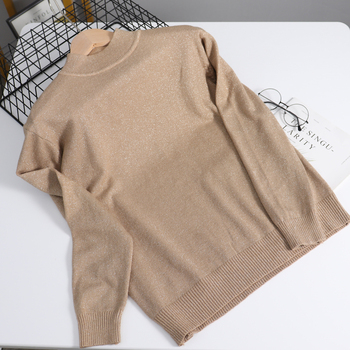 BYGOUBY Bling Lurex Shinning Women Basic Sweater Crew Neck Pullover Tops Soft Female Jumper Knitted Woman Pullover And Sweaters цена 2017
