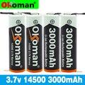 3,7 V 3000mAh 14500 литий Батарея литий Перезаряжаемые акумуляторная Батарея Сварки Никель листовые батареи для фонарь светодиодный игрушка-фонар...