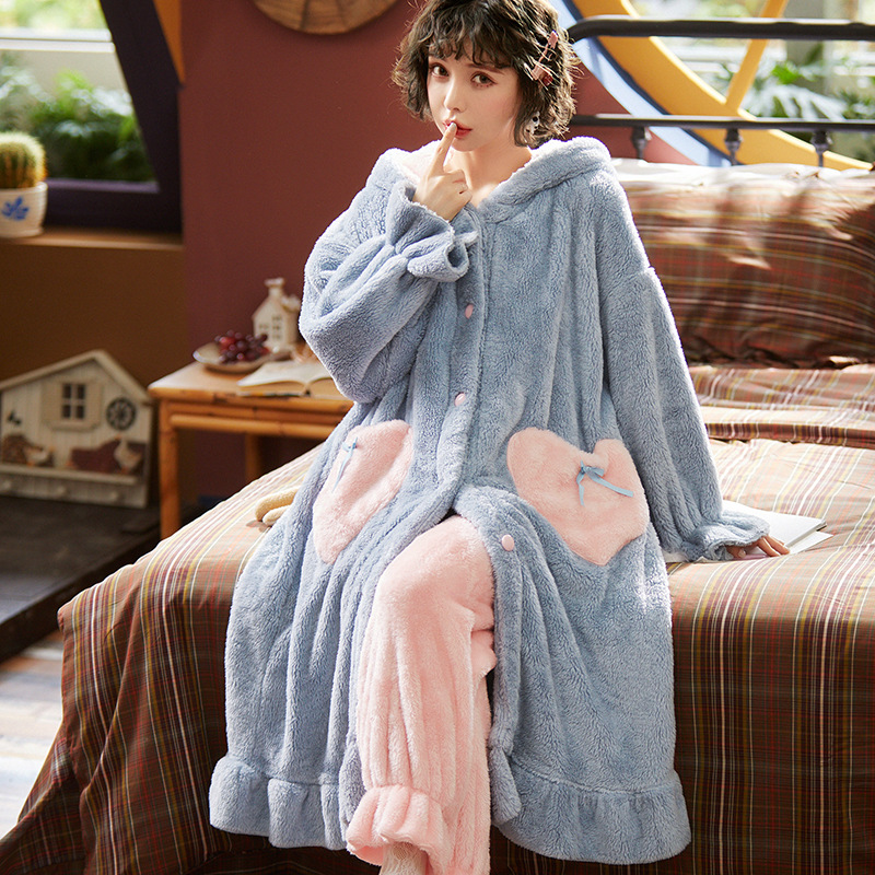 Autumn Winter Women Hooded Pajama Sets Ruffled Warm Coral Flannel Sleepwear Set Solid Female Thick Long Soft Cute Nightwear