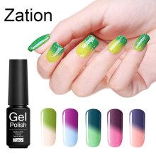 Zation Suhu Uv Gel Varnish Gradien Warna-warni Lacquer Enamel Bunglon Top Base Coat Gel Thermo Gel Cat Kuku(China)