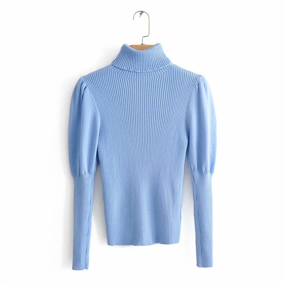 2019 Women Fashion Turtleneck Puff Sleeve Basic Knitting Sweater Autumn Solid Color Casual Slim Pullovers Chic Leisure Tops S086