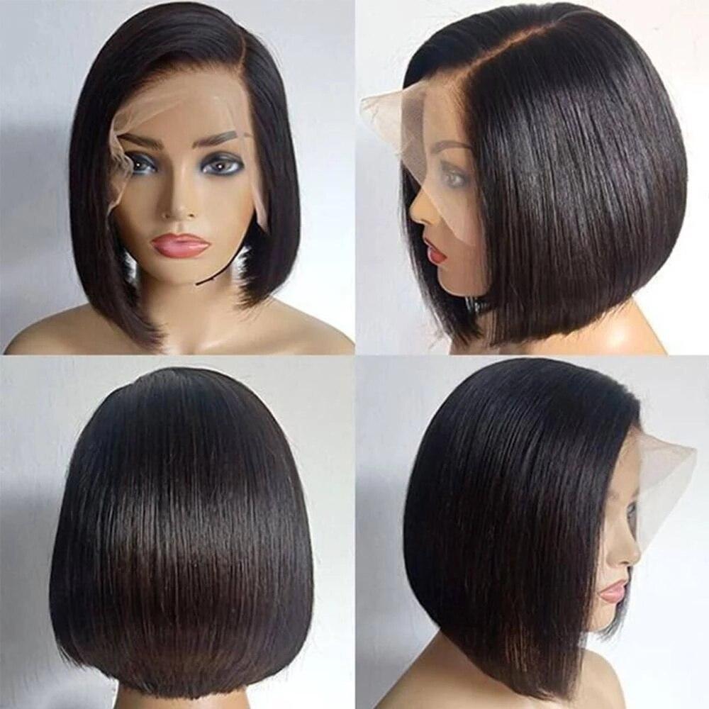 Парик MISIA с прямыми T-образными волосами, короткие волосы 10 дюймов, из перуанских человеческих волос, цвет 1b #, для чернокожих женщин