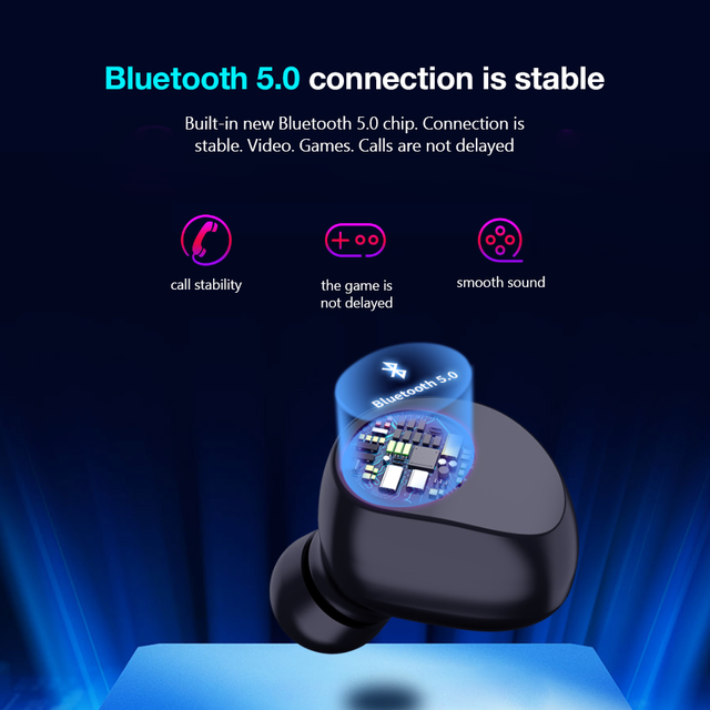 CBAOOO TX29 Bluetooth Earphones True Wireless 5.0 TWS in-Ear Earbuds IPX5 Waterproof Mini Headset 3D Stereo Sound Sport Earpiece