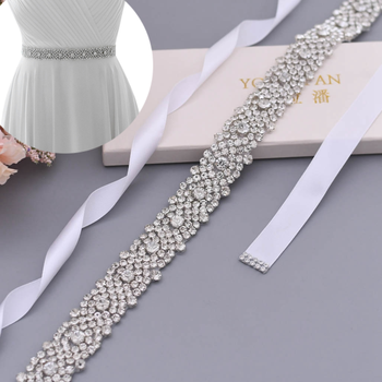 TOPQUEEN Luxury Beaded Applique Belt Bling Skinny Belt Womens Waist Belts Bridal Sash Belt Rhinstone Belt Custom Belt S28B