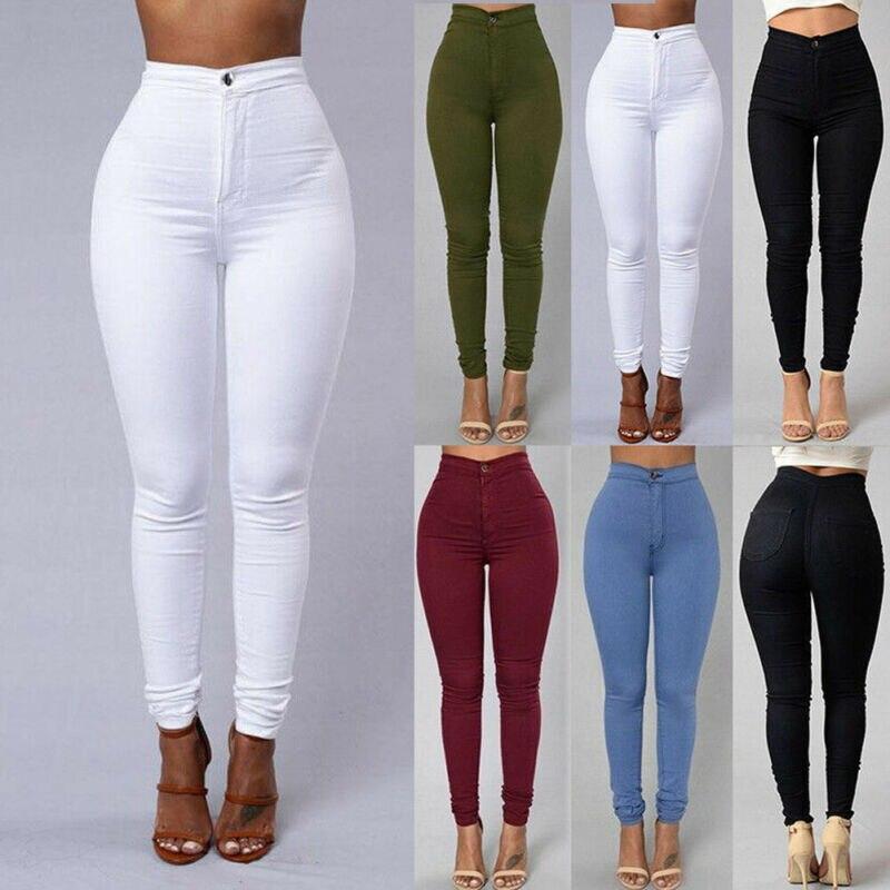 Hirigin Women High Waist Stretch Denim Pants Trousers Jeans Skinny Rose Solid Casual Pencil Pants Autumn Plus Size S-3XL