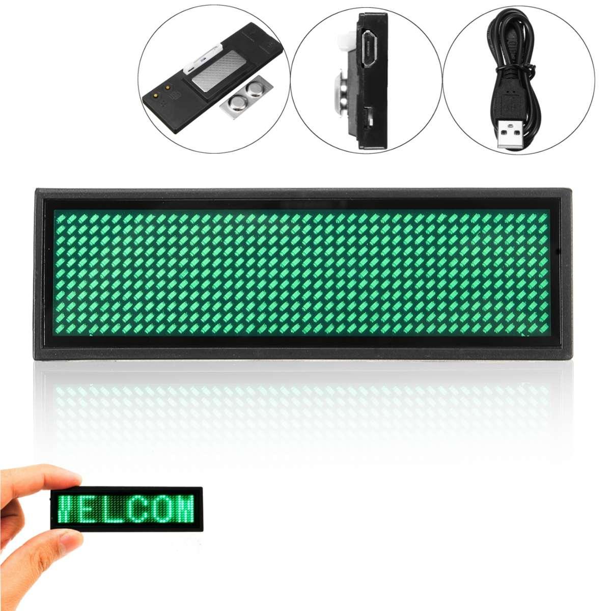 Светодиодный мини Цифровой Программируемый Прокрутка перезаряжаемое имя, сообщение, знак бейджа, перезаряжаемый светодиодный значок с именем, красный, синий, зеленый, белый - Испускаемый цвет: Зеленый