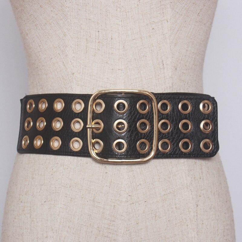 Women Cummerbunds High Quality Waistbands Fashion Elastic Wide Stretch Belt Lady Gold Rivet Cinch Dress Wedding Accessories Gift