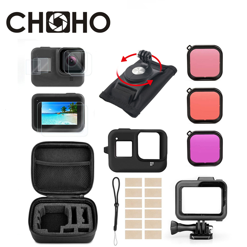 For Gopro 8 Black Accessories Sets Frame Case Screen Protector Silicone Shell Waterproof Case Dive Filter For Go Pro Hero 8