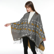 Small Sailboat Geometry Rhombus Long Thick Faux Cashmere Wish Hot Selling National Style Travel Slit Shawl Cloak(China)