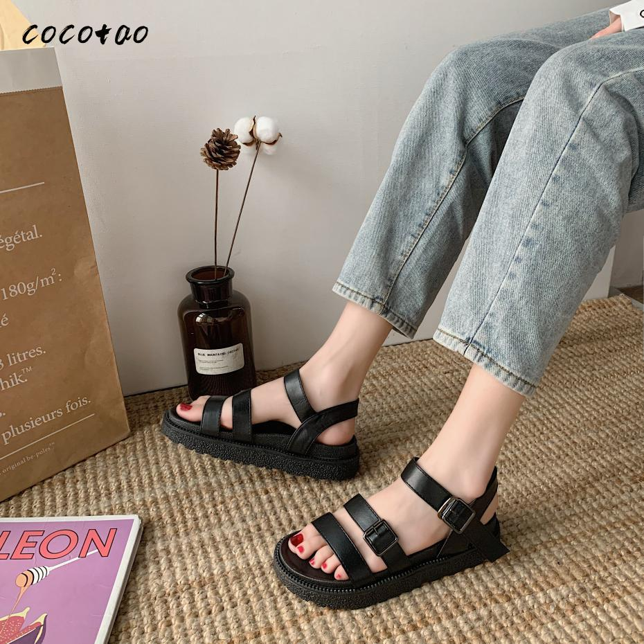 Roman Sandals 2020 New Student Fashion Comfortable Harajuku Style Retro Ins Wild Chic Summer Female Word Buckle